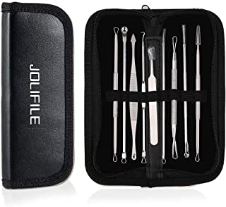 Sponsored Ad – JOLIFILE Pimple Popper Tool, 9PCs Spot Popper Comedone Blackhead Remover Kits with Curved Tweezers and Pimp...