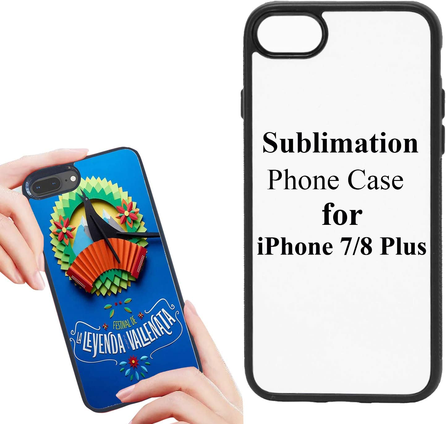 JUSTRY 5 PCS Sublimation Blanks 2D Phone Case Covers Soft Rubber Compatible with iPhone 7/8 Plus, 5.5