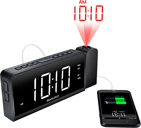 SHANLONYI Projection Alarm Clock Radio For Bedrooms LED Light Desk Digital Time Protector With Ceiling Large Display 7 USB Charging For Cell Phone Battery Back Up