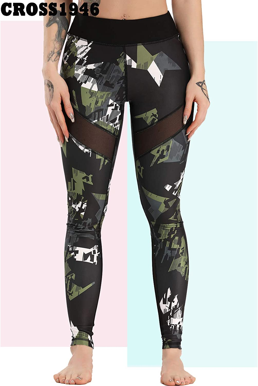 CROSS1946 Damen Basic Einfarbig Sport Gestreckt Yoga Hose Legging D-verde