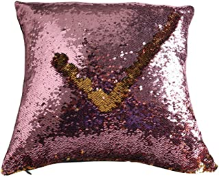 TRLYC 5mm Rose Pink and Gold 18 by 18 Inch Mermaid Dress Clothing Fabric Reversible Sequin Pillow Cover with Insert