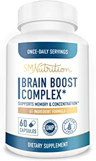 Brain Boost Complete - Brain, Memory and Focus Supplement*; Focus*, Concentration*, & Brain Function* Nootropic Support wi...