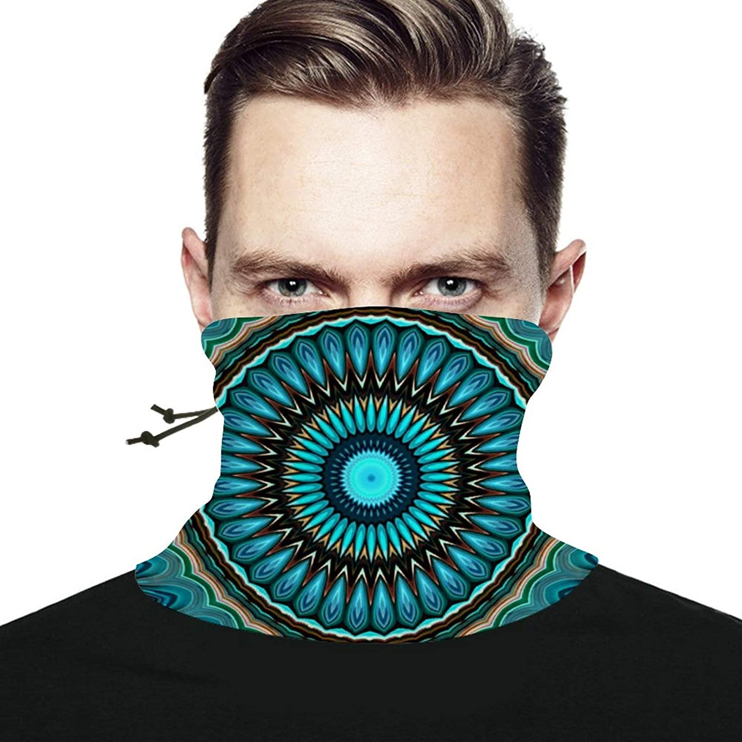 Turquoise Teal Green Circle Seamless Scarf Headwear Neck Gaiter Bandana Neck Warmer Multifunctional Face Cover Windproof UV Protection For Men Women