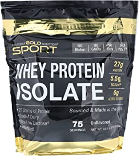 California Gold Nutrition, Whey Protein Isolate Instantized, Ultra-Low Lactose, Unflavored, 75 Servings 5 lbs (2270 g), Eg...