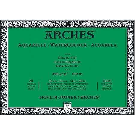 Arches Confezione 10 Fogli Aquarelle 300g 56x76 Grana Fina Cold Pressed A1795040 Bright White 22inx30in
