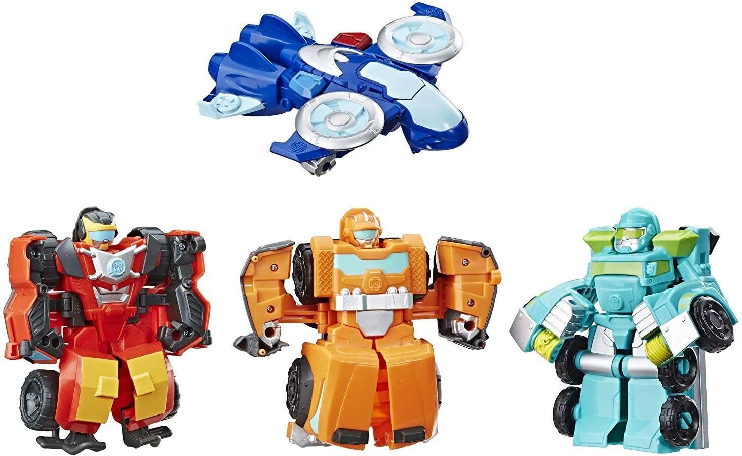 Amazon Com Playskool Heroes Transformers Rescue Bots Academy Rescue Team Pack 4 Collectible 4 5 Converting Action Figures Toys For Kids Ages 3 Up Brown E5099 Toys Games