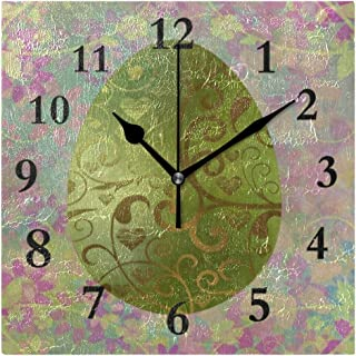 FunnyCustom Painting Damask Colorful Egg Easter Square Wall Clock 7.8 Inch Hanging Clock for Living Room/Kitchen/Bedroom