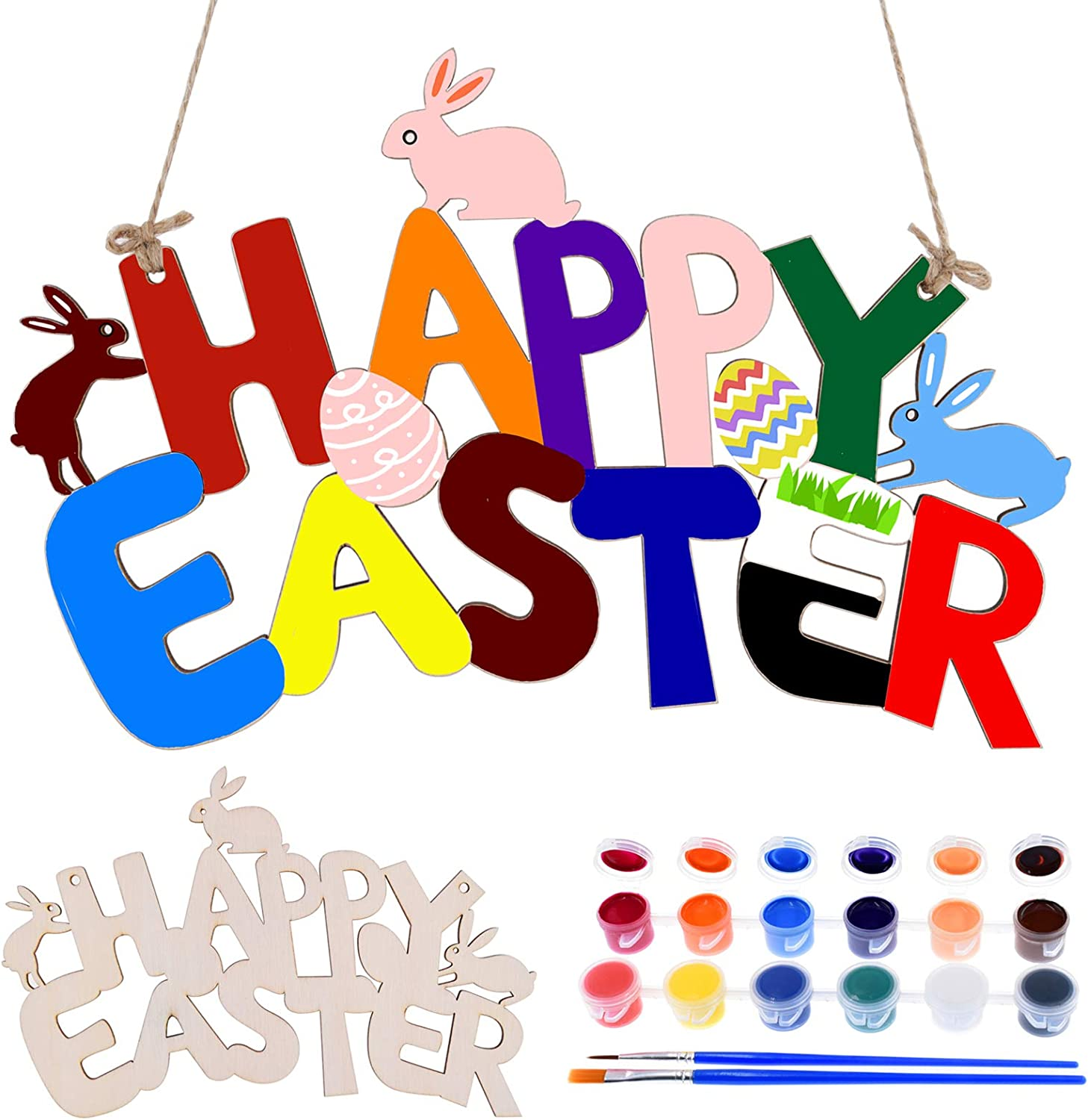 EXRIZU Easter Crafts Paint Large-scale sale Unfinished Natural Great interest Wood and Arts Craf