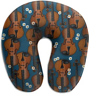 YINLAN Soft Breathable Memory Foam Neck Pillow, Head Cervical Support for Airplane Travel Office Sleeping Rest, Portable Washable Cover - Colorful Violin Pattern Travel Accessories