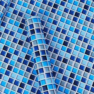 LZYMLG Mosaico papel tapiz baño cocina papel tapiz impermeable baño baño PVC autoadhesivo azulejo adhesivo de pared Azul