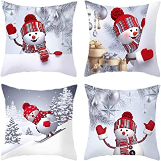 HEYHOUSENNY Snowman Christmas Tree Decorations Throw Pillow Covers Set of 4 Winter Decor Cushion Cover 18 X 18