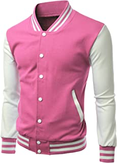 Men's Stylish Color Contrast Long Sleeves Varsity Jacket