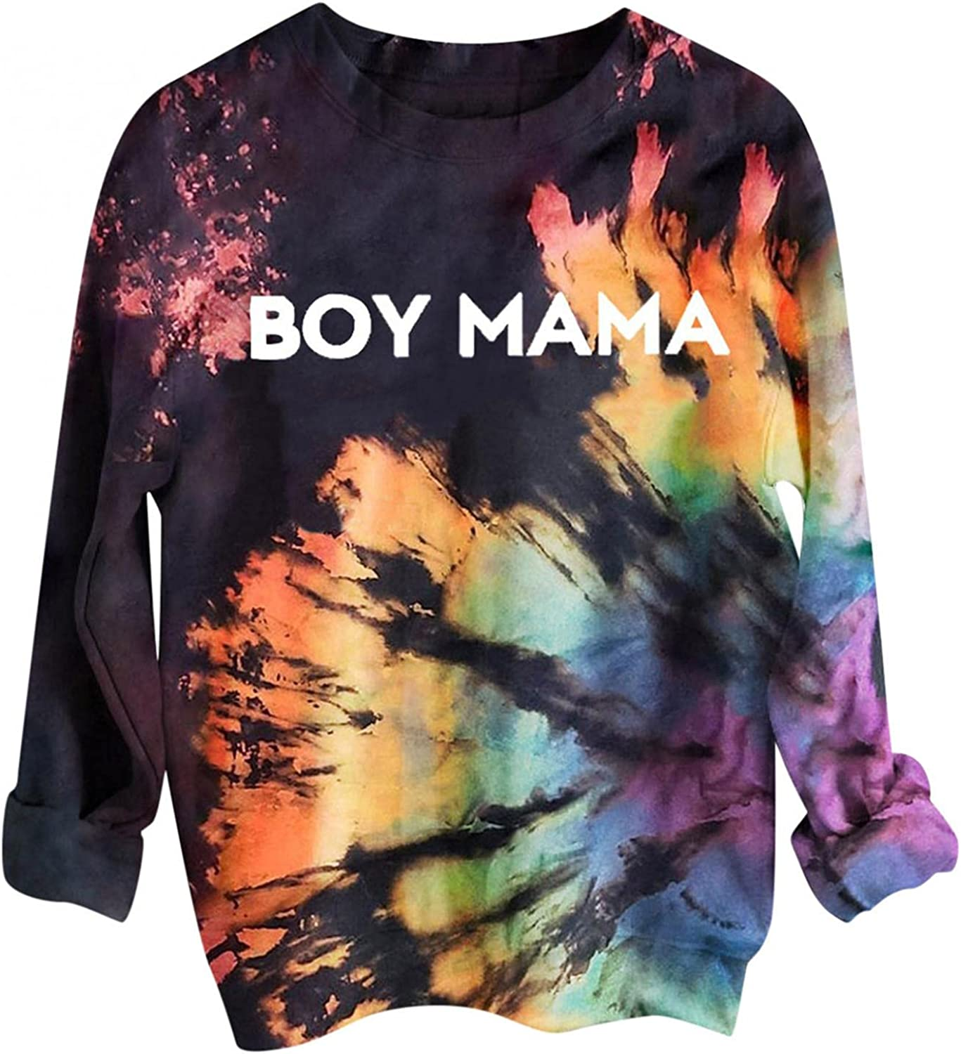 BAGELISE Sweatshirt for Women, Womens O-Neck Long Sleeve Tops Loose Funny Letter Tie Dye Print Pullover