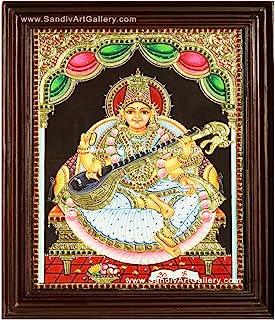 Sandiv Art Gallery Saraswathi Tanjore Painting – 22 Carat Gold Saraswathi Tanjore Painting – Saraswathi Photo Frame on Wal...