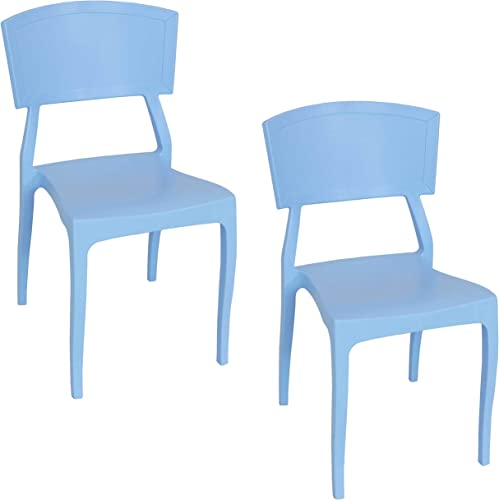 wholesale Sunnydaze Elmott Plastic Patio Dining Chair Seat - Modern Design - Deck, Lawn and Garden Seat - sale Indoor lowest or Outdoor Use - Commercial Grade All-Weather - Light Blue - 2 Chairs online sale