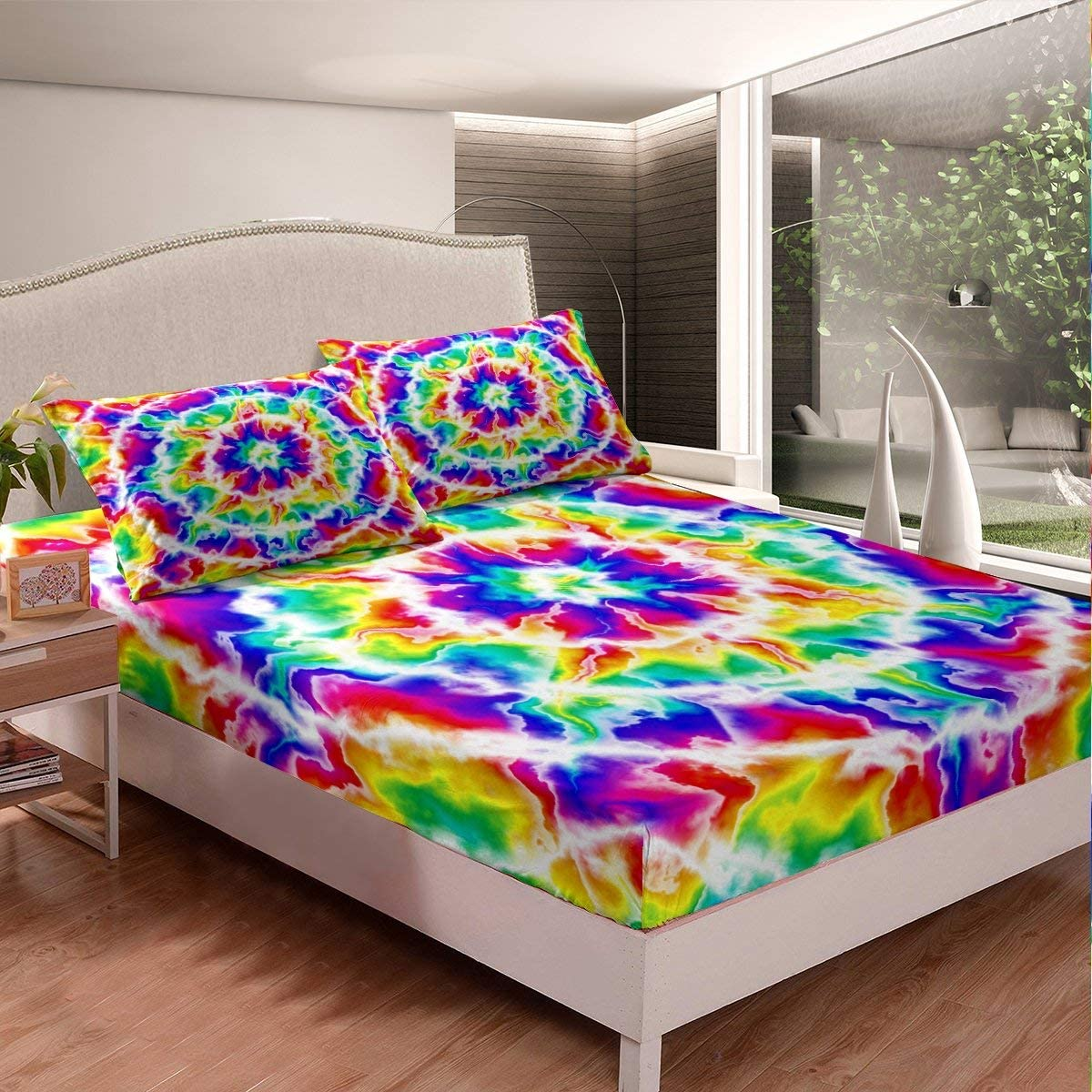 Rainbow Manufacturer regenerated Topics on TV product Tie Dye Fitted Sheet Girls Iridescent 3D Watercol Swirl