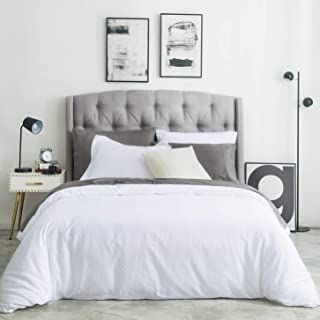 SUSYBAO 3 Piece Duvet Cover Set 100% Natural Cotton King Size 1 Duvet Cover 2 Pillow Shams Solid White Luxury Quality Super Soft Breathable Comfortable Lightweight Durable Bedding with Zipper Ties
