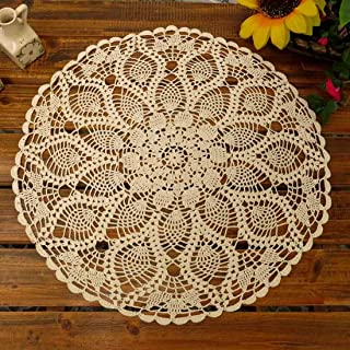 kilofly Handmade Crochet Cotton Lace Table Sofa Doily, Waterlily, Beige, 20 inch