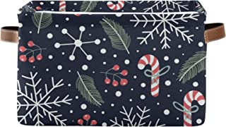 DOMIKING Panier de rangement rectangulaire avec poignées Motif flocons de neige de Noël