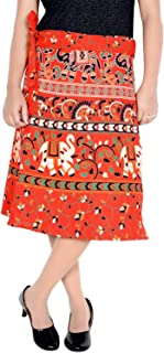 Jaipuri Print Women's Cotton Printed Knee Length Regular Wrap Around Skirt (W24NT-0004)