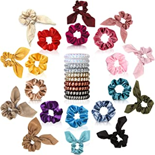 30 Pcs Hair Scrunchies - 10pcs Velvet Scrunchies for Hair, 10pcs Satin Scrunchies with Bow, 10pcs Spiral Coil Hair Ties, Good Idea for Any Occasions, Daily Wear, Parties, Sports & Bath for Girls Women