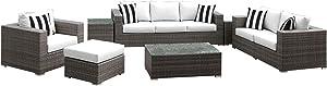 Solis Patio Lusso 7 Piece Deep Seated Sofa Set, Grey Rattan, White Cushions, Black/White Stripe Toss Pillows, Grey/Silver