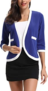 Abollria Women Open Front Cardigan 3/4 Sleeve Cropped Bolero Shrug