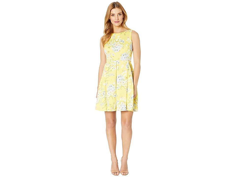 Taylor Sleeveless Floral Print Fit and Flare Dress (Daffodil) Women