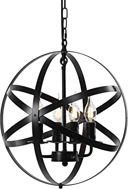 ZOSIMIO Light Chandeliers Farmhouse Rustic Industrial Pendant Lighting Fixture with Metal Spherical Shade Chandelier for Dining Room, Kitchen Island, Foyer (Black)