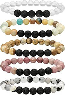 Eigso 7 Chakra Diffuser Bracelets Set for Women Men Reiki Healing Meditation Lava Rock Stone Beads