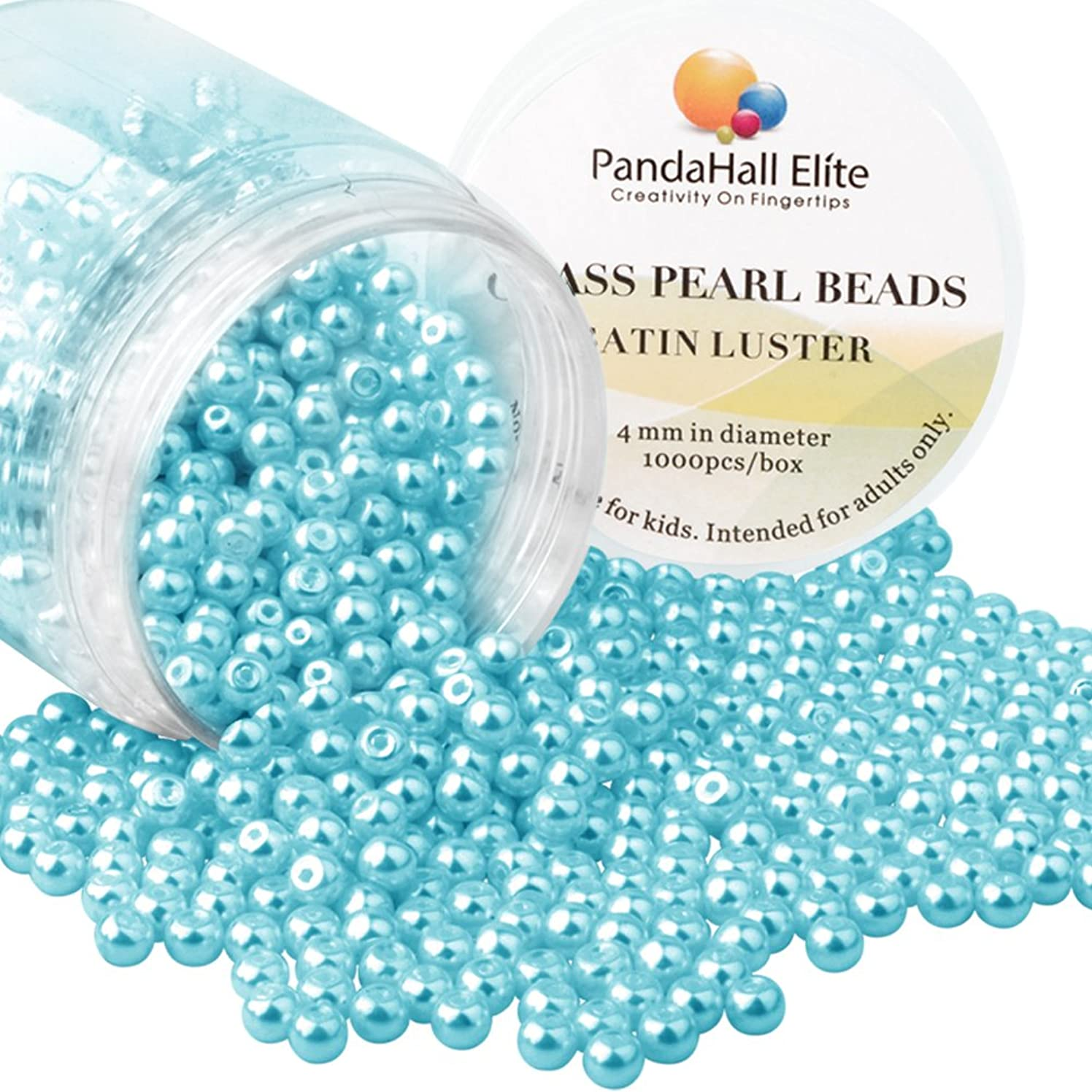 PandaHall Elite 4mm About 1000Pcs Tiny Satin Luster Glass Pearl Round Beads Assortment Lot for Jewelry Making Round Box Kit Sea Serpent