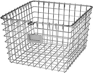 Spectrum 47970 Diversified Wire, Vintage Locker Basket Style, Rustic Farmhouse Chic, Steel Storage for Closets, Pantry, Kitchen, Garage, Bathroom & More, Medium, Pack of 1, Chrome