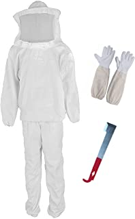 Xntun Professional Beekeeper Suit (include Jacket, Pants, Gloves, Scraper) White