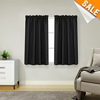 Lazzzy Black Small Window Curtain Panels Waffle Weave Textured Room Darkening Cafe Curtains Waterproof Kitchen Window Treatment Set for Bathroom 2 Panels 45-inch