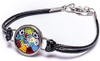 آخرین موارد موجود! دستبند منحصر به فرد سیاه و سفید ، ساخته شده از شیشه معتبر مورانو ، طراحی ایتالیایی
