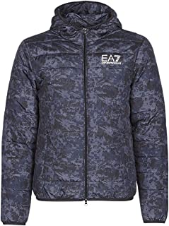 ea7 Mens Train Graphic Series M Jacket Hoodie All Over Camou Gris Plumón Chaquetas