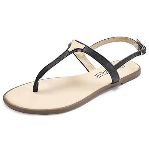 4f768efa6 SANDALUP Flat Thong Sandals with Triangle Metal for Women