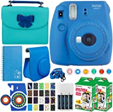 Fujifilm instax Mini 9 Instant Film Camera + Instax Mini Twin Pack Instant (40 Shots) + Case + Scrapbook Album + Colored Filters + Camera Sticker + Neck Strap – Full Accessory Kit (Cobalt Blue)