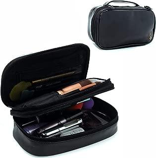 Relavel Small Makeup Bag, Relavel Travel Cosmetic Bag Makeup Brush Organizer Holder for Women Girls Black