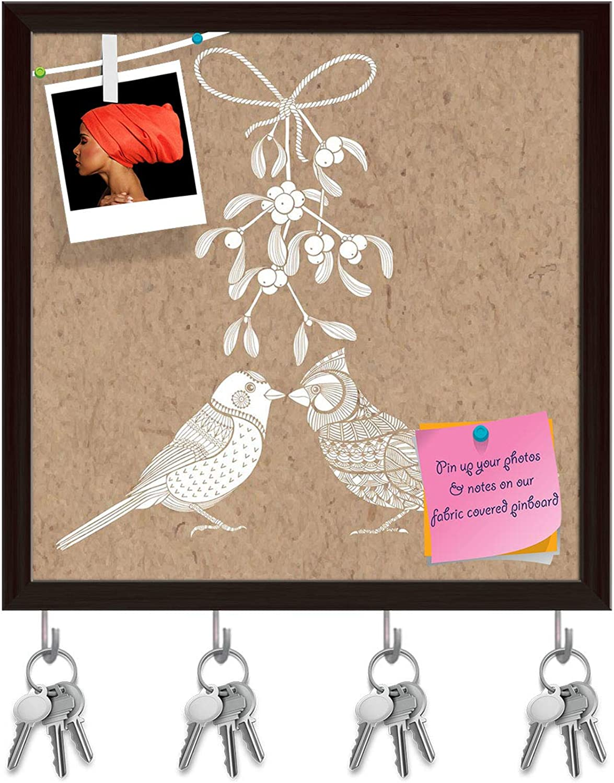 Artzfolio Birds & Mistletoe Key Holder Hooks   Notice Pin Board   Dark Brown Frame 20 X 20Inch