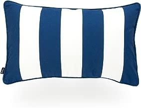 Hofdeco Decorative Lumbar Pillow Cover INDOOR OUTDOOR WATER RESISTANT Canvas Navy Blue Stripes 12x20