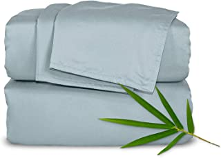 Pure Bamboo Sheets King 4pc Bed Sheet Set - 100% Bamboo Luxuriously Soft Bed Sheets (King, Sterling Blue)