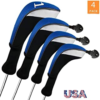 FINGER TEN Golf Club Head Covers Woods Driver Fairway Hybrid 3/4/5 Set, Headcovers Men 1 3 5 7 X Interchangeable Number Tag, Fit All Wood Clubs