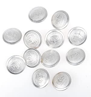 Heerpoint Reproduction 12 PCS WWI German Officer Imoerial Crown Tunic Button Silver 21MM