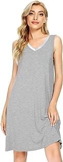 WiWi Bamboo Sleeveless Chemise Nightgowns for Women V Neck Sleep Shirts