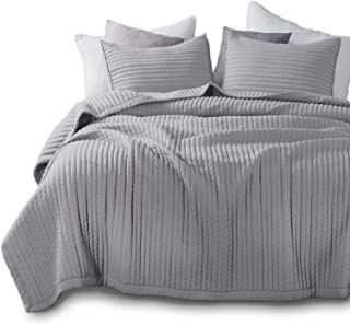 KASENTEX Quilt-Bedding-Coverlet-Blanket-Set, Machine Washable, Ultra Soft, Lightweight, Stone-Washed, Detailed Stitching - Hypoallergenic - Solid Color (Grey, Oversized Queen + 2 Shams)
