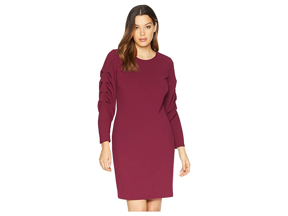 Vince Camuto Elbow Bubble Sleeve Crepe Ponte Dress (Manor Red) Women
