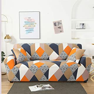 HoneiLife Spandex Fabric Stretch Couch Cover Sofa Slipcover Stylish Furniture Protector for 4 Cushion Couch- Magic Cube,Loveseat Seater