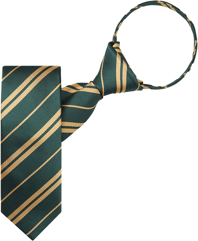 Jacob Alexander Woven Double Stripe Boys' 14 inch Zipper Neck Tie