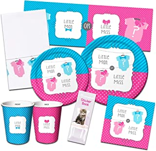 Bow or Bowtie Party Supplies Ultimate Set -- Gender Reveal Party Baby Shower Decorations, Party Packs, Plates, Cups, Napkins and More (Gender Reveal Baby Shower Party Supplies)